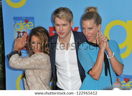 "Vanessa Lengies (left), Chord Overstreet & Heather Morris at the season four premiere of ""Glee"" at Paramount Studios, Hollywood. September 12, 2012  Los Angeles, CA Picture: Paul Smith - stock photo"