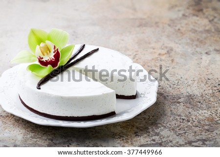 Vanilla and chocolate cheesecake, selective focus - stock photo