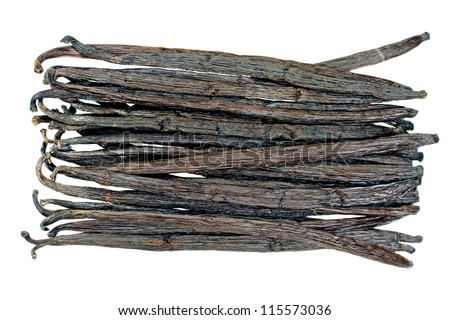 vanilla beans isolated on a white background - stock photo