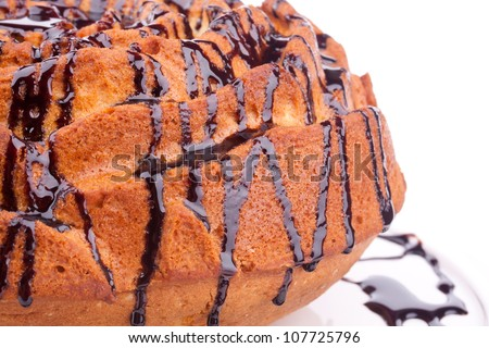 vanilla cake with chocolate sauce - stock photo