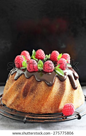 Vanilla-chocolate bundt cake with fresh raspberries on a wooden background. Selective focus - stock photo