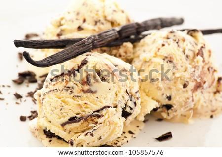 vanilla chocolate ice cream - stock photo