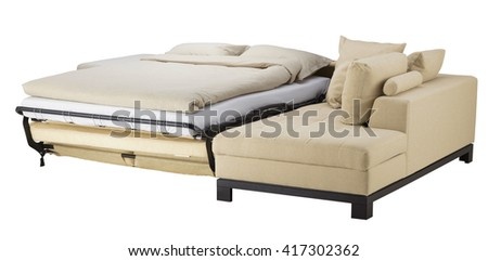 Vanilla corner couch bed isolated on white. Include clipping path - stock photo