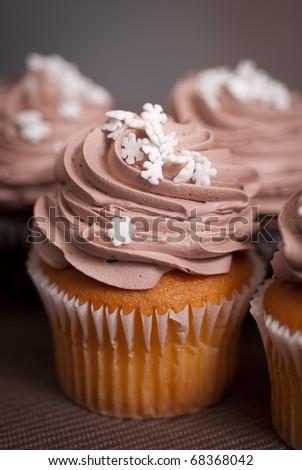 vanilla cupcake with chocolate icing - stock photo