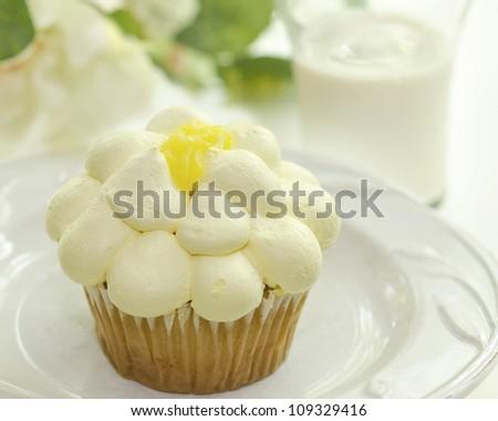 vanilla cupcake with lemon jelly - stock photo