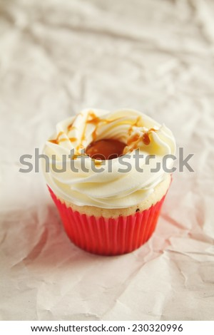 Vanilla cupcake with Salted caramel topping with clear space - stock photo