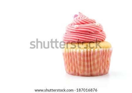 Vanilla cupcakes isolated white background - stock photo