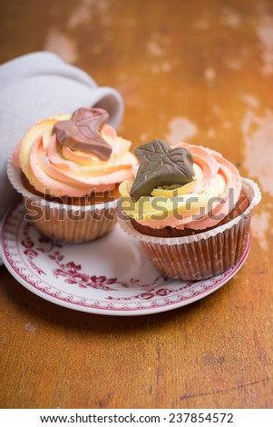 Vanilla cupcakes with colorful frosting and edible decoration on a dessert plate - stock photo