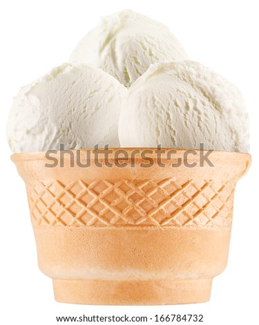 Vanilla ice-cream balls in waffle cup. Clipping paths. - stock photo