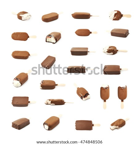 Vanilla ice cream bar coated with chocolate glaze on a wooden stick, composition isolated over the white background, set of various different foreshortenings