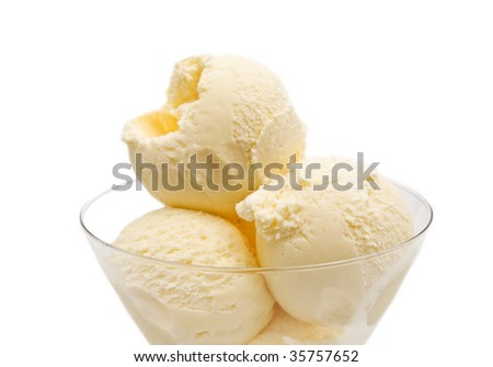 vanilla ice cream on white background