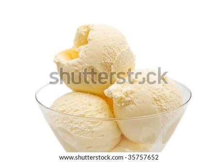 vanilla ice cream on white background - stock photo