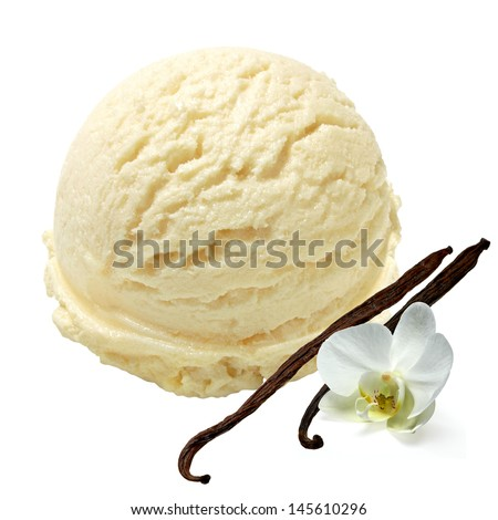 Vanilla ice cream with beans on white background - stock photo