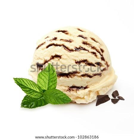 Vanilla ice cream with chocolate and mint - stock photo