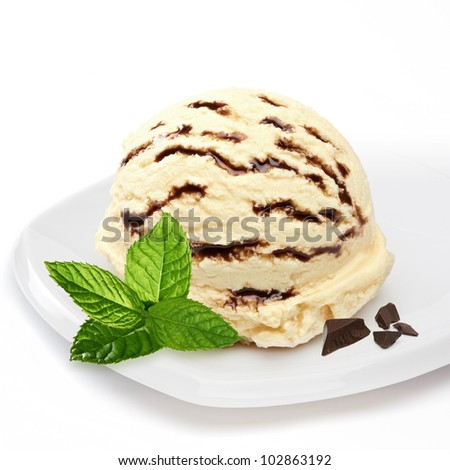 Vanilla ice cream with chocolate and mint - stock photo