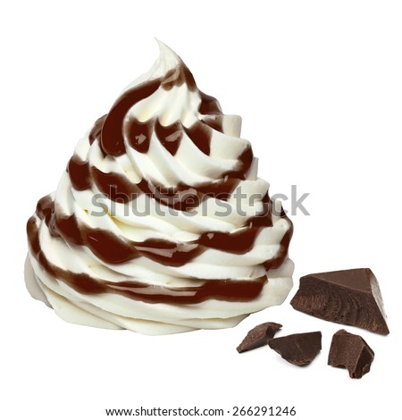 Vanilla ice cream with chocolate chips and sauce including clipping path - stock photo