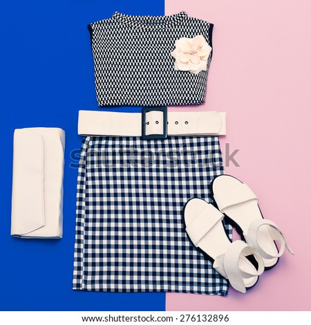Vanilla Ladies set. Fashionable Clothing and Accessories - stock photo
