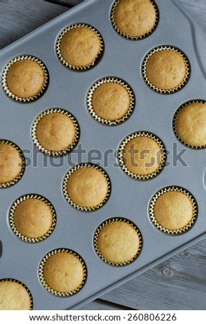vanilla muffins in baking dish on a table macro. top view background or texture - stock photo