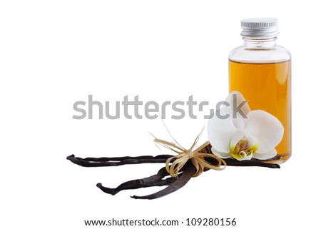 Vanilla pods, flower and bottle  isolated on white background - stock photo