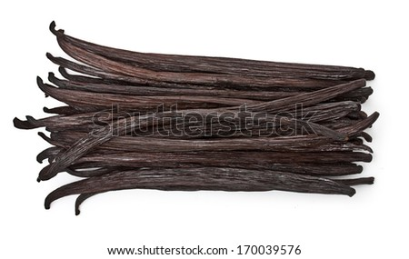 Vanilla pods isolated on white background - stock photo