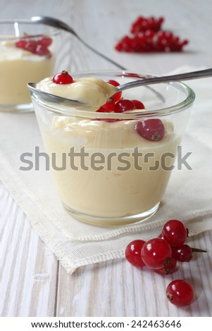 vanilla pudding with currants - stock photo