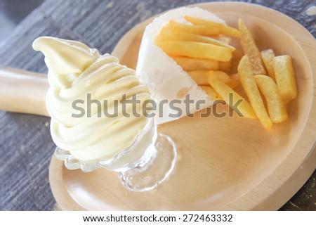Vanilla Soft Cream and French Fries - stock photo