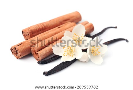 Vanilla sticks and cinnamon with flowers on white backgrounds. - stock photo