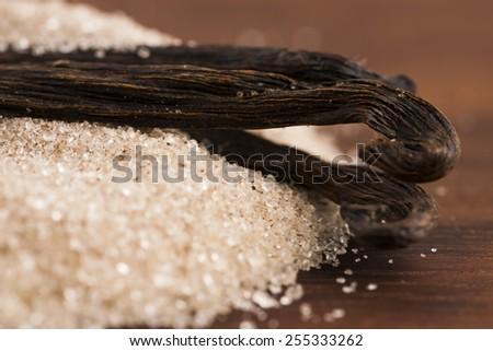 vanilla sugar and vanilla beans - stock photo