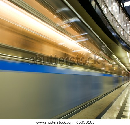 vanishing colorful high-speed train in motion - stock photo