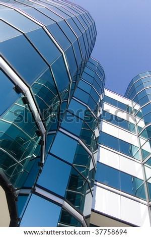vanishing point building glass background - stock photo