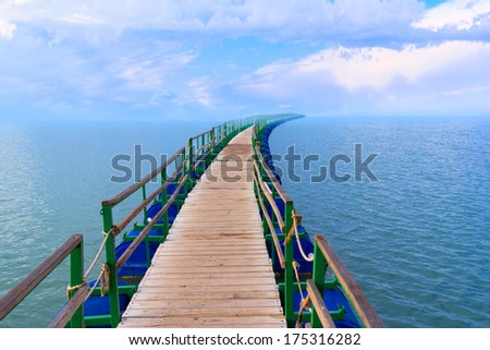 Vanishing point  pier perspective sea landscape - stock photo