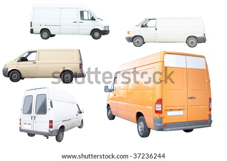 Vans under the white background - stock photo