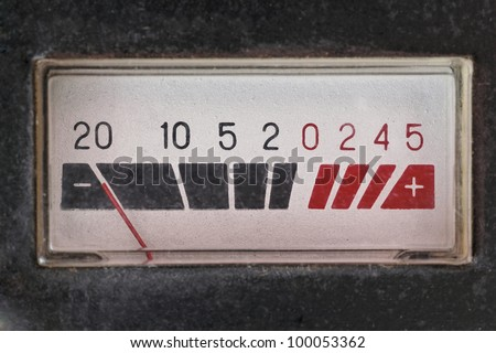vantage volume meter closeup - stock photo