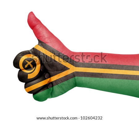 Vanuatu flag on thumb up gesture like icon - stock photo