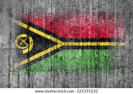 Vanuatu flag painted on background texture gray concrete - stock photo