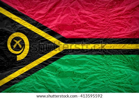 Vanuatu flag pattern overlay on floyd of candy shell, vintage border style - stock photo