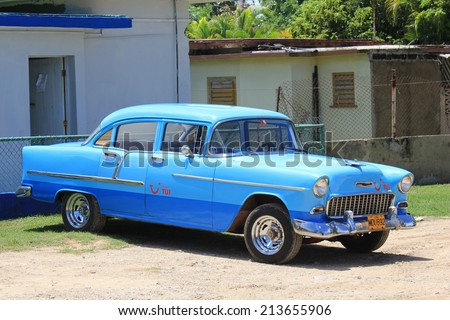 Varadero, Cuba, August 28, 2012: Old fashioned azure car