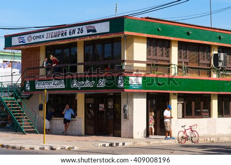 Varadero, Cuba -  March 6, 2016: Corner building in Varadero, housing a Cimex department store, a Cuban chain store