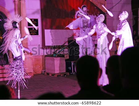 VARAZDIN, CROATIA - AUGUST 29: The largest street festival in the region known as Spancirfest. Artists from many countries perform on the streets of Varazdin, 29 August, 2010 in Varazdin, Croatia - stock photo
