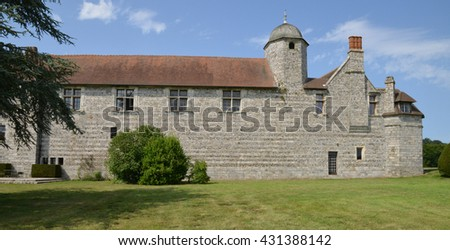 Varengeville sur Mer, France - july 16 2015 : the Ango manor built between 1530 and 1545 for Jean Ango, the Dieppe governor
