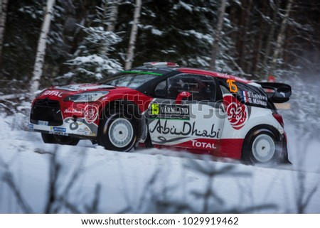 VARGASSEN, SWEDEN - 02-11-2017: Stephane Lefebvre with his Citroen WRC car during the event Rally Sweden 2017