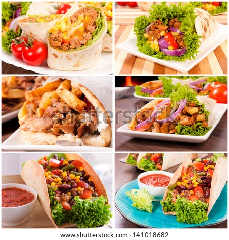 Variants of using traditional tortillas in meals - stock photo