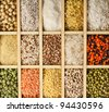 Variation assorted  of lentils, beans, peas, soybeans, legumes in wooden box close up macro top view  backdrop - stock photo
