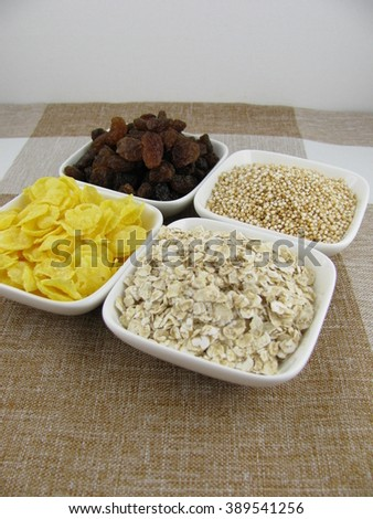 Variation of cereal ingredients - stock photo