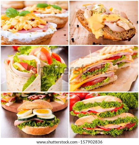 Variation of the sandwiches  - stock photo