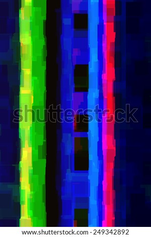 Varicolored abstract of parallel stripes, with overlapping rectangles with slightly irregular edges, like walls of high-rise buildings at dusk - stock photo