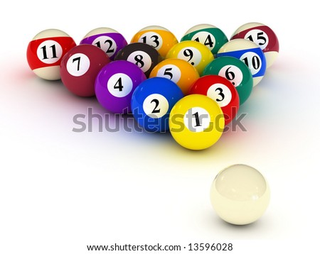 varicolored billiard balls on white background