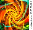 Varicolored spiral radial rays.  Abstract fractal illustration. - stock photo