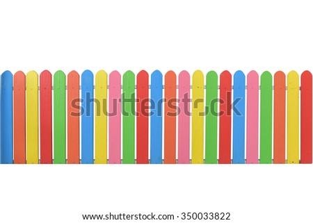 Varicolored  wooden fence isolated on white background with copy space. This has clipping path. - stock photo