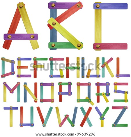 Varicoloured wooden alphabet. Isolation on a whiteness - stock photo